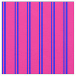 [ Thumbnail: Blue and Deep Pink Colored Lines Pattern Fabric ]
