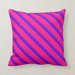 [ Thumbnail: Blue and Deep Pink Colored Lines Pattern Pillow ]
