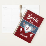 "Blue and deep red Bride to be Wedding notes Planner<br><div class=""desc"">Personalize thisWedding planner with a name front and back for the Bride to be.