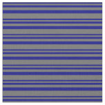 [ Thumbnail: Blue and Dim Grey Lined Pattern Fabric ]