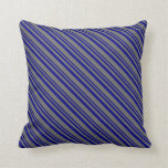 [ Thumbnail: Blue and Dim Grey Lined Pattern Throw Pillow ]