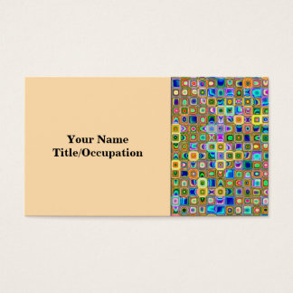 Blue And Earth Tones 'Fireflies' Tiles Pattern Business Card