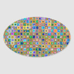 Blue And Earth Tones 'Fireflies' Tiles Pattern Oval Sticker