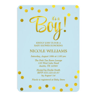 Blue and Faux Gold Confetti Boy Baby Shower Card