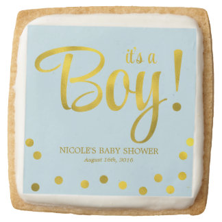 Blue and Faux Gold Foil Confetti Boy Baby Shower Square Shortbread Cookie