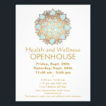 """Blue and Faux Gold Leaf Health and Wellness Flyer<br><div class=""""desc"""">Vector illustration of mandala inspired lotus flower - in blue with faux gold leaf outlines. Original illustration by Maura Reed. A versatile elegant flyer appropriate for many different holistic and alternative medicine professions as well as those who specialize in organic products and skincare or crafters who specialize in handmade clothing...</div>"""