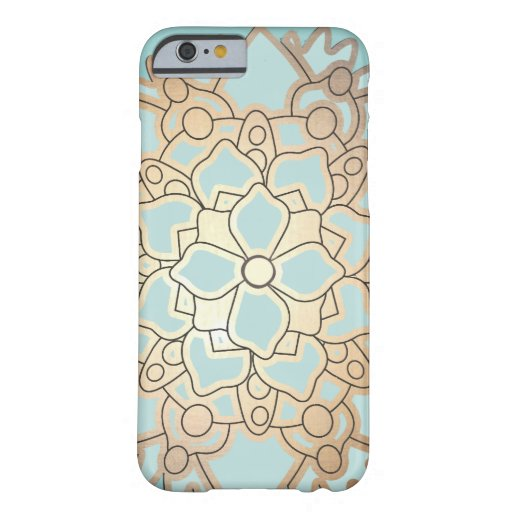 Blue and Faux Gold Leaf Lotus Flower iPhone 6 Case