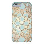 Blue and Faux Gold Leaf Lotus Flower iPhone 6 Case at Zazzle