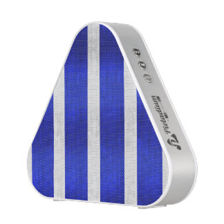 Blue and faux silver stripes bluetooth speaker