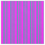[ Thumbnail: Blue and Fuchsia Colored Pattern of Stripes Fabric ]
