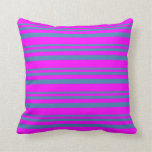 [ Thumbnail: Blue and Fuchsia Colored Pattern of Stripes Pillow ]