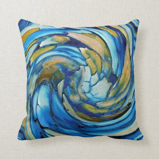 Blue and gold abstract dolphin throw pillow for Blue and gold pillows