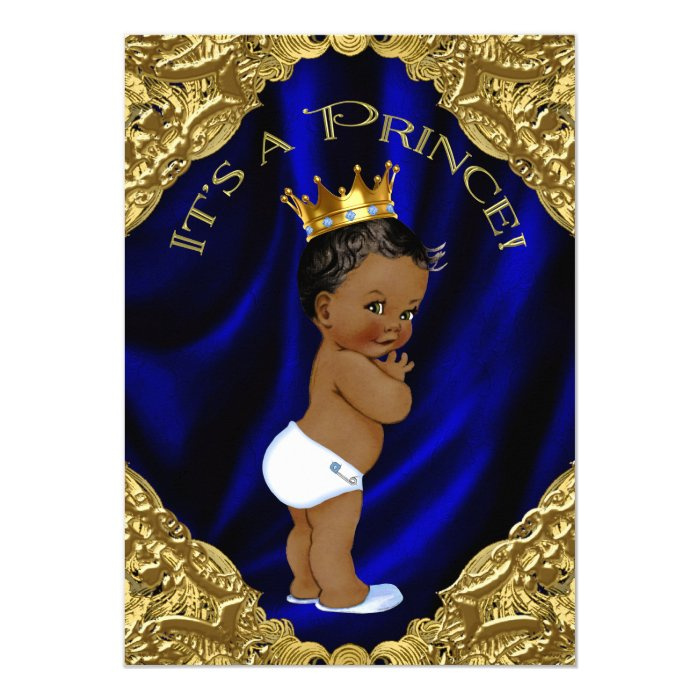 Blue And Gold African American Prince Baby Shower Card