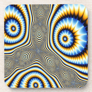 Blue and Gold Alien Eyes Abstract Coaster