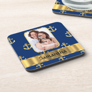 Blue and gold anchor patterned beverage coaster