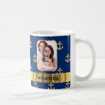 Blue and gold anchor patterned coffee mug