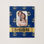 """Blue and gold anchor patterned jigsaw puzzle<br><div class=""""desc"""">Easily personalize this blue and gold anchor pattern design by adding your own and name or text to the templates to make a unique customized product. Visit the PHOTOGIFTZ STORE for matching products. The template photo image text and can easily be replaced with your own, Photographs of the same 4...</div>"""