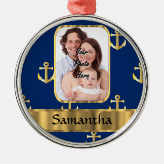 Blue and gold anchor patterned christmas ornaments