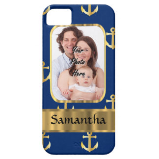 Blue and gold anchor patterned photo template iPhone SE/5/5s case