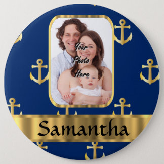 Blue and gold anchor patterned pinback button