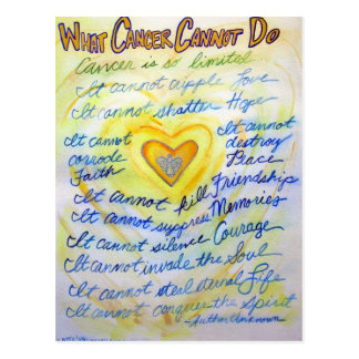 Blue and Gold Angel Heart Cancer Text Postcard