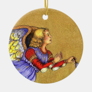 """""""Blue and Gold Angel"""" Ornament"""
