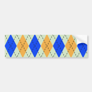 BLUE AND GOLD ARGYLE PATTERN BUMPER STICKER
