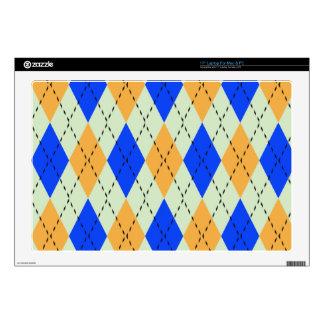 BLUE AND GOLD ARGYLE PATTERN LAPTOP SKIN