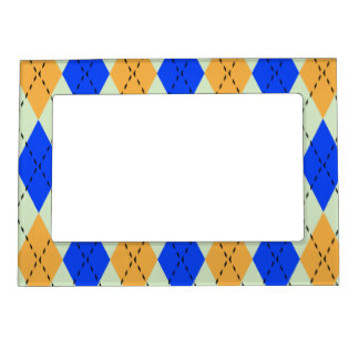 BLUE AND GOLD ARGYLE PATTERN MAGNETIC PICTURE FRAME