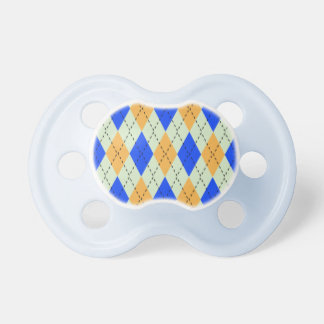 BLUE AND GOLD ARGYLE PATTERN PACIFIER