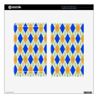 BLUE AND GOLD ARGYLE PATTERN SKINS FOR KINDLE FIRE