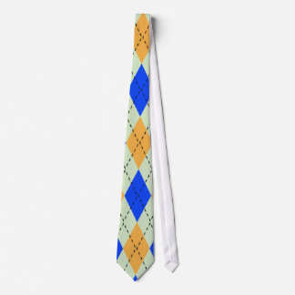 BLUE AND GOLD ARGYLE PATTERN TIE