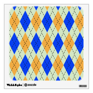 BLUE AND GOLD ARGYLE PATTERN WALL STICKER
