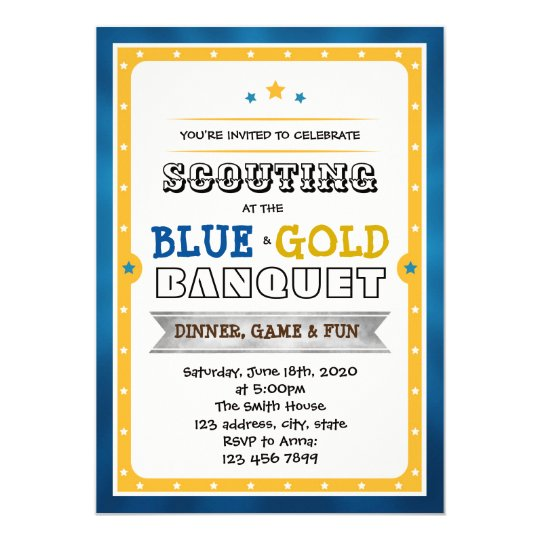 Blue and gold banquet party invitation
