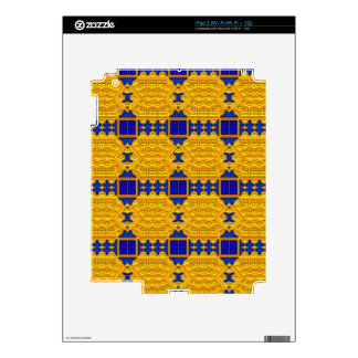Blue and Gold Baroque Pattern Decals For The iPad 2