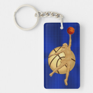 Blue and Gold Basketball Gifts for Girls Team Double-Sided Rectangular Acrylic Keychain