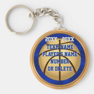 Blue and Gold Basketball Keychains with YOUR TEXT