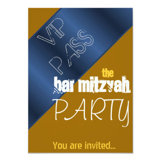 Blue and gold Bat Mitzvah Bar Mitzvah party Custom Announcements