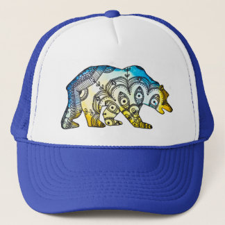 Blue and Gold Bear Snapback By Megaflora Trucker Hat