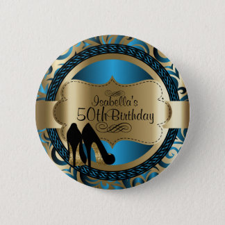 Blue and Gold Birthday with Black High Heels Pinback Button