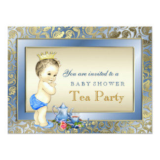 Blue and Gold Boys Tea Party Baby Shower 6.5x8.75 Paper Invitation Card