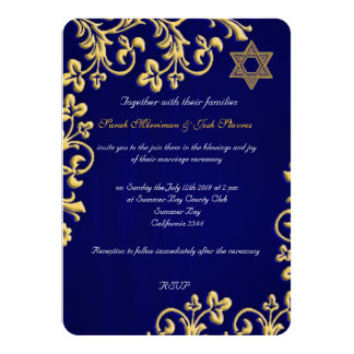 Blue and gold brocade Jewish wedding Card