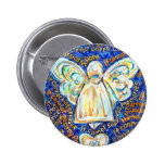 Blue and Gold Cancer Angel Button Pins