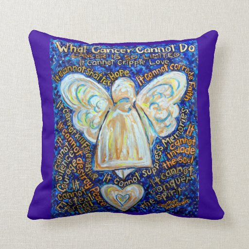 Gold Blue Decorative Pillow : Blue and Gold Cancer Angel Decorative Throw Pillow Zazzle