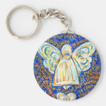 Blue and Gold Cancer Angel Keychain