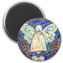 Blue and Gold Cancer Angel Magnet