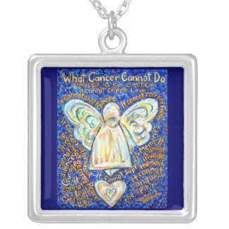 Blue and Gold Cancer Angel Necklace Jewelry