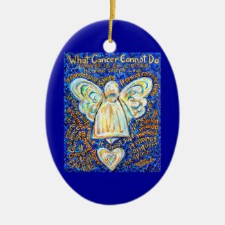 Blue and Gold Cancer Angel Ornament Customized