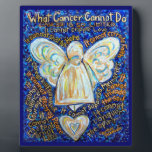 """Blue and Gold Cancer Angel Painting Poem Plaque<br><div class=""""desc"""">This painting has the text of &quot;What Cancer Cannot Do&quot; in various shades of gold over a blue background. The painting was rendered in acrylic. This was painting number two in the series. It was donated (2005) to Berenson Oncology in West Hollywood, CA. The blue color theme is a good...</div>"""