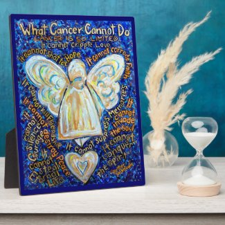 Blue and Gold Cancer Angel Painting Poem Plaque